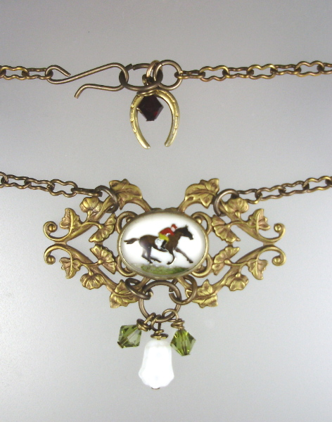 Antique ENGLISH Reverse Painted HORSE JOCKEY Rider Necklace PENDANT Horseshoe Racing Swarovski Crystals Vintage Glass Bead-n-joc