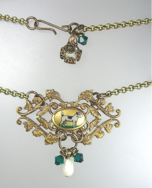 C1920's ART DECO French JACK RUSSELL Dog Pendant Necklace Hand Painted PEARL Swarovski Crystals MOTHER of PEARL Charm-n-jr
