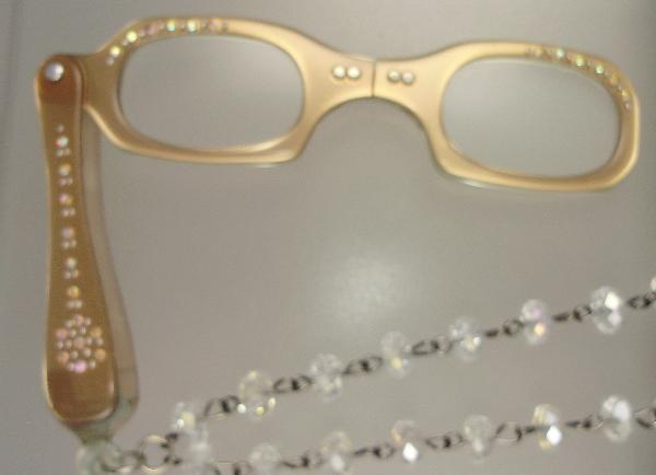 Vintage 1950s PINK LORGNETTE Folding Glasses Pendant NECKLACE Crystal RHINESTONES-n-lgcp