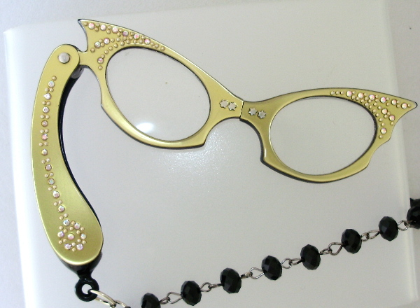 Vintage 1950s GOLD Cats EYE LORGNETTE Folding EYEGlasses Pendant NECKLACE Crystal AB RHINESTONES-n-lggld