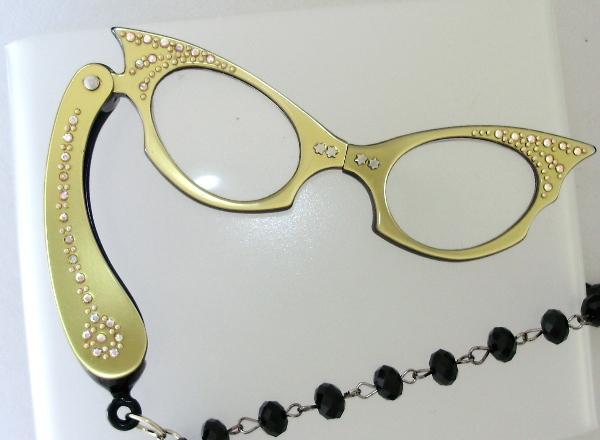 Vintage 1950s GOLD Cats EYE LORGNETTE Folding EYEGlasses Pendant NECKLACE Crystal AB RHINESTONES-n-lggld