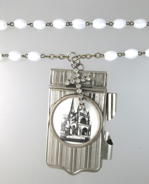 Religious FRENCH Antique Art Nouveau Repousse Souvenir NOTEBOOK Carnet de BAL Aide MEMOIRE with SCENIC Notre DAME LIESSE Necklace PENDANT Sterling ROSARY BEADS CROSS -n-liesser