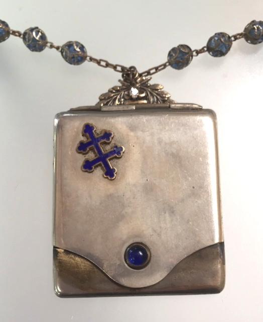 FRENCH Antique Guilloche Enamel CROSS of LORRAINE Photo Locket/Carnet De BAL Notebook Necklace-n-lorr