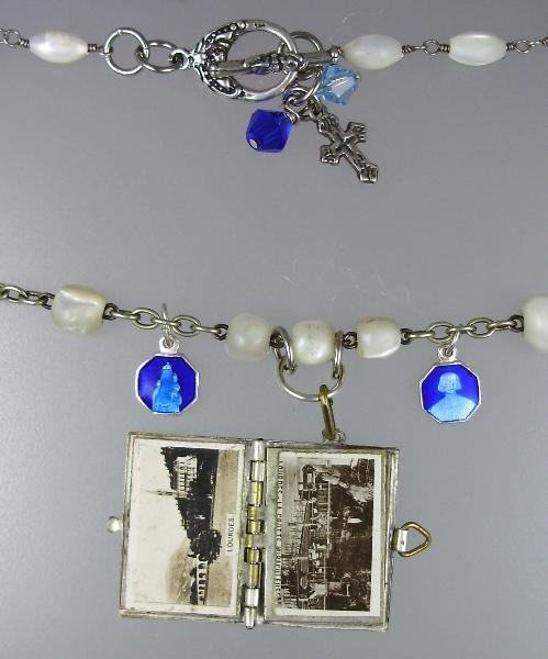 FRENCH Antique Religious C1890 LOURDES St Bernadette Art Nouveau Repousse Souvenir Photo Book Locket Charm Pendant Necklace-n-loubkb