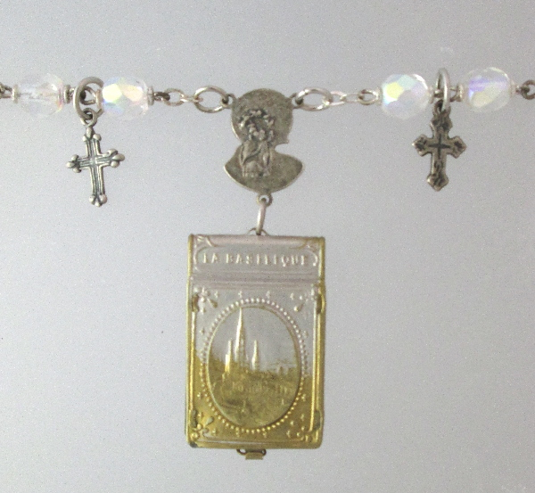 FRENCH Antique Religious LOURDES St Bernadette Art Nouveau Repousse Souvenir Photo Book Locket Charm Pendant Necklace-n-loubkbas