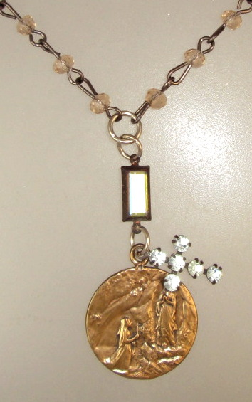 LOURDES Bronze Medal CHAMPAGNE Crystals Rhinestone CROSS Necklace-n-louchp