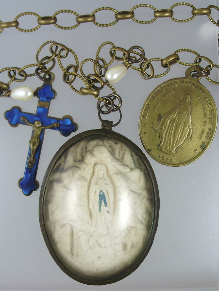 C1860 Religious FRENCH Carved Meerschaum LOURDES Virgin Mary St Bernadette with Antique Blue Enamel CROSS Miraculous Mary Medal Pearls Pendant NECKLACE-n-loumm