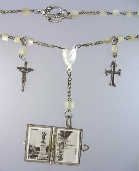 FRENCH Antique Religious SOUVENIR Photo Book LOURDES Charm STERLING CROSS Mother of Pearl Heart ROSARY BEADS Necklace-n-loumopr