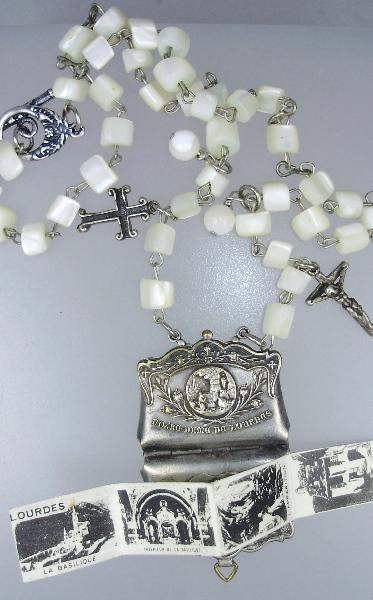 FRENCH Antique Religious C1890 LOURDES St Bernadette Virgin Mary  Art Nouveau Repousse PURSE Shape Souvenir Photo Book Locket Charm Pendant Necklace MOTHER of PEARL Rosary-n-louprs