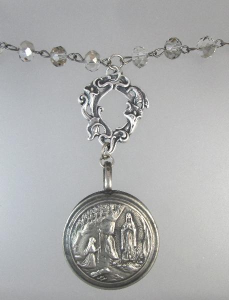 Antique LOURDES Baby RATTLE Charm Pendant Necklace CRYSTALS-n-lourat