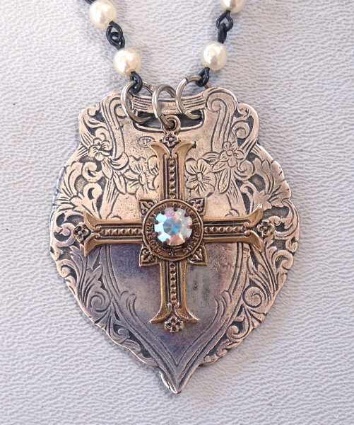 ENGLISH Silver LUGGAGE TAG FOB  with BRONZE Gothic CROSS Crystals PEARLS-n-luggcr