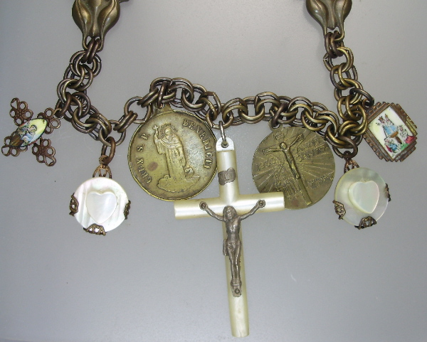 ANTIQUE French Italian Religious St ANTHONY BENEDICT Brass CHARM NECKLACE Mother of  PEARL CROSS Hearts ENAMEL Medals -n-luv