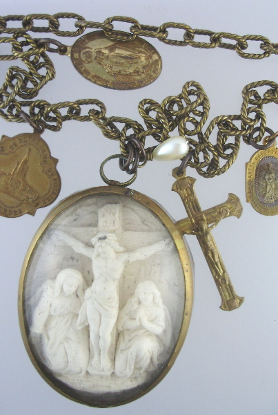 Antique RELIGIOUS Napoleon III FRENCH Carved Meerschaum JESUS CHRIST on CROSS Pendant Necklace MIRACULOUS MARY Medals CROSS Link Chain LOURDES Medal-n-m-sc