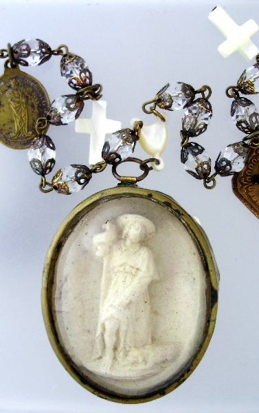 ANTIQUE C1890 FRENCH Napolean III Carved Meerschaum ST ROCCO w DOG Crystal Filigree Rosary Beads Pendant Necklace MOP CROSS Medals Our Lady of PARIS-n-m-st