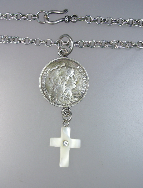 Sterling Silver French MARIANNE Medal Pendant NECKLACE Mother of PEARL CROSS-n-mar3o