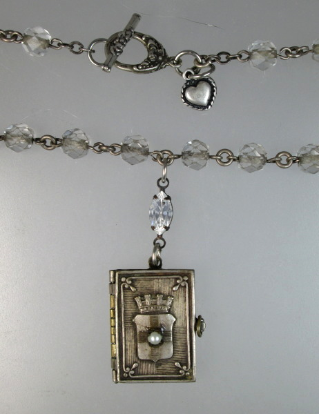 FRENCH Antique SOUVENIR Photo Book CHATEAU D'IF LONGCHAMPS Charm NECKLACE-n-marbk
