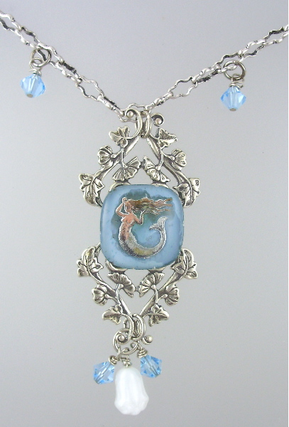 French ANTIQUE Reverse Painted Glass MERMAID on STERLING SILVER Vines Swarovski Crystals Vintage Glass Bead Necklace Pendant-n-merm