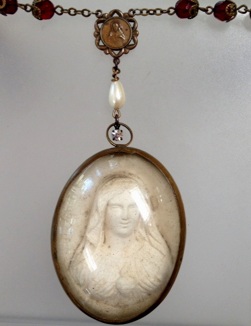 C1890 FRENCH Napolean III Carved Meerschaum SACRED HEART Mary Crystal Filigree RED ROSARY Bead Necklace-n-mershm
