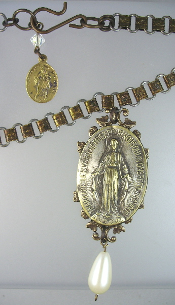 Antique FRENCH Religious MIRACULOUS MARY CHARM Necklace PENDANT BOOK Chain PEARL Drop-n-mmbk