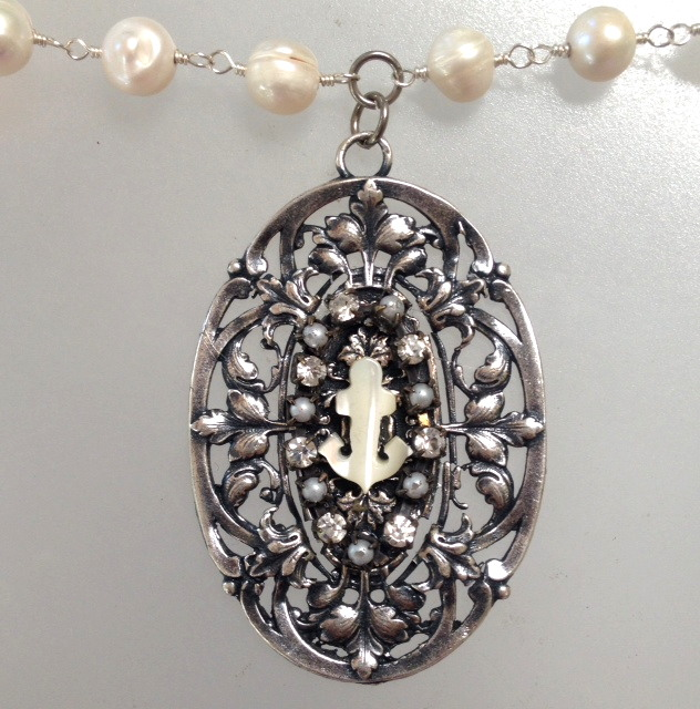 Mother of PEARL ANCHOR on SILVER Filigree Freshwater PEARL Necklace-n-mopancf