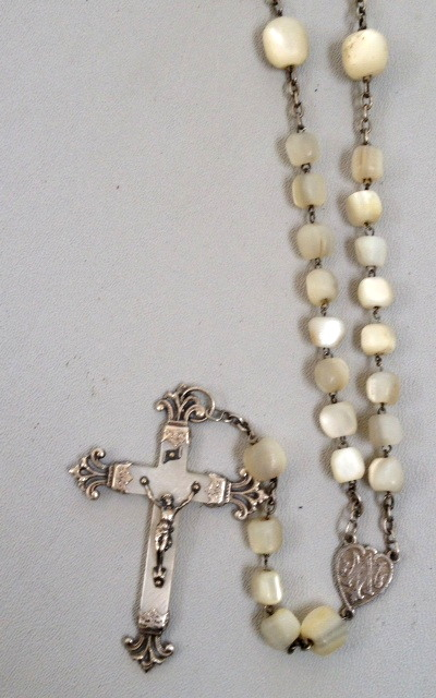 FRENCH Sterling SILVER Religious Mother of Pearl CROSS Heart ROSARY BEADS Necklace-n-mopcrsxx