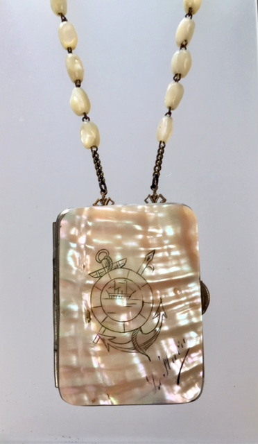FRENCH Antique Carved Coin PURSE Mother of PEARL Bead Necklace Le Havre Normandy-n-lehav-n-lehav