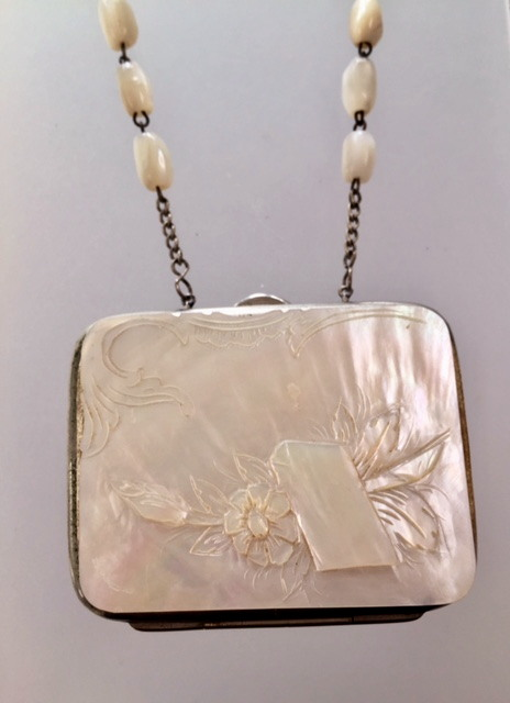 FRENCH Antique Carved ROSE Coin PURSE Mother of PEARL Bead Necklace -n-moprsxxx
