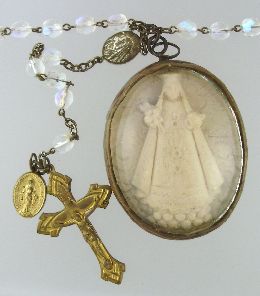 Antique FRENCH Napoleon III Meerschaum Virgin Mary on Antique Aurora Borealis Rosary Beads Pendant Necklace-n-mr3med