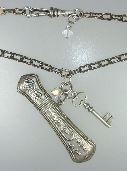 Antique STERLING Silver NEEDLE CASE Roses Pendant NECKLACE Skeleton KEY Crystals-n-nc