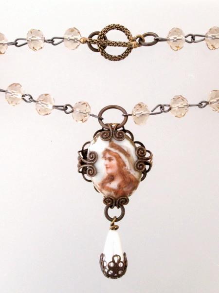 FRENCH Antique Painted Porcelain Woman Portrait CAMEO Pendant Necklace PEARL Drop-n-pcamp