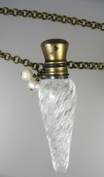 Antique FRENCH Victorian Crystal Perfume Bottle Pendant Necklace PEARLS-n-pcry