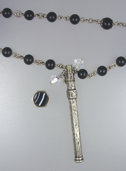 FRENCH Repousse Sterling SILVER PENCIL Antique French ROSARY Beads Swarovski CRYSTALS-n-pen
