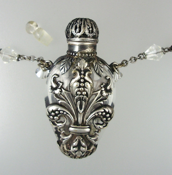 FRENCH Antique Filigree SILVER Perfume Bottle Pendant Necklace Clear Crystal Beads-n-perff