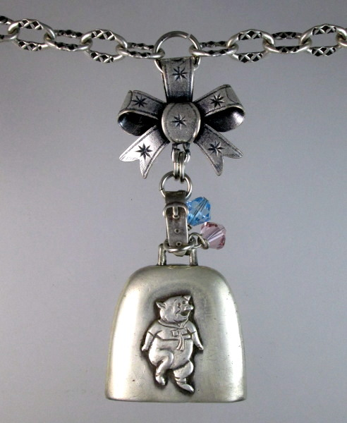 Antique STERLING Silver PIG BABY RATTLE Pendant Necklace BOW Swarovski Crystals Ornate Chain-n-pig