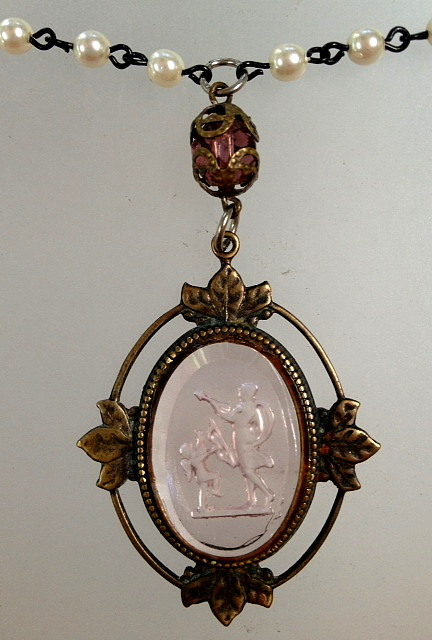 Antique FRENCH BEADS w Vintage Glass Pink ANGEL CAMEO Leaf Brass Frame Bronze HEART Necklace-n-pkangz