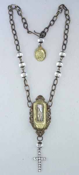 Antique FRENCH Miraculous MARY POCKET Shrine Figure PENDANT Brass Filigree Bead Necklace Rhinestone CROSS-n-pktbx
