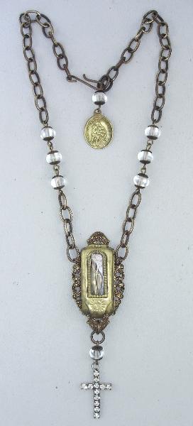 Antique FRENCH Miraculous MARY POCKET Shrine Figure PENDANT Brass Filigree Bead Necklace Rhinestone CROSS-n-pktbx