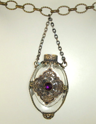 Antique French CHATELAINE Perfume Bottle Pendant Necklace PURPLE Stone-n-prfprp