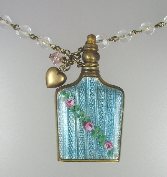 Antique  Blue GUILLOCHE Enamel Pink ROSES PERFUME Bottle Pendant Necklace HEART Crystal BEADS Swarovski -n-prfrs