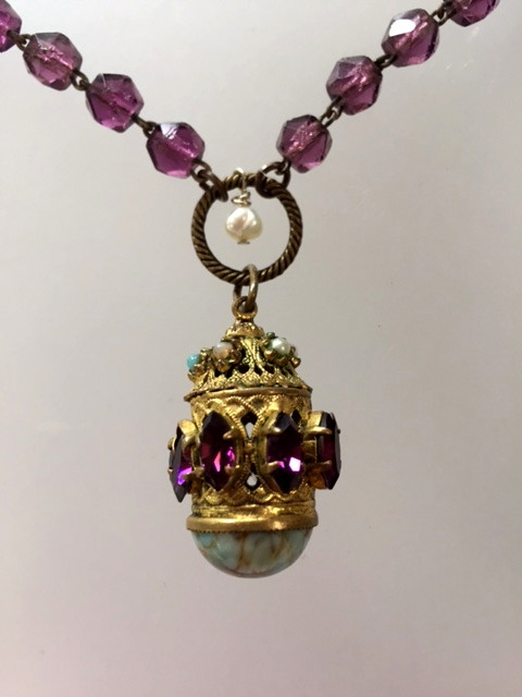 Antique French CHATELAINE Pendant Necklace PURPLE Stones Turquoise Pearls-n-prpmed
