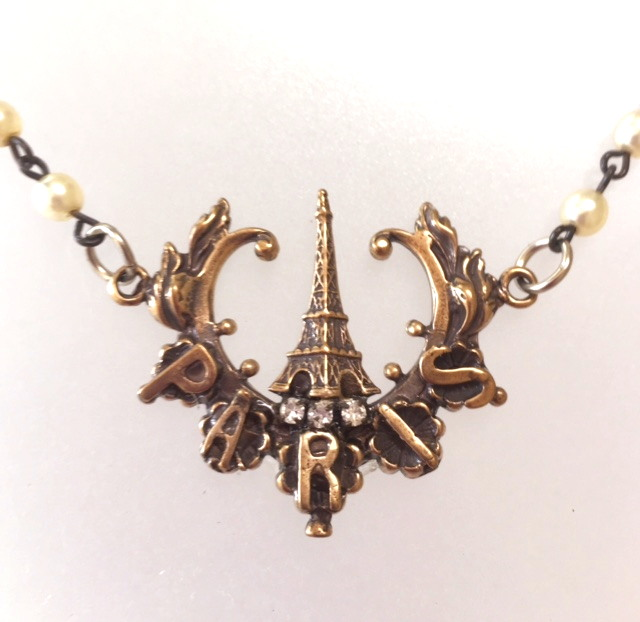 BRONZE Paris EIFFEL TOWER Charm Necklace PEARLS-n-prsbrz