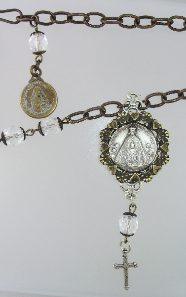 Religious ANTIQUE OUR Lady PUY Pendant Necklace Crystal Beads STERLING Silver CROSS-n-puy