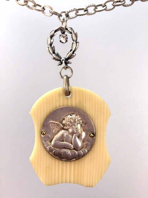 Religious ANTIQUE French Raphel ANGEL Ivorine  Crib Medal Necklace-n-raph