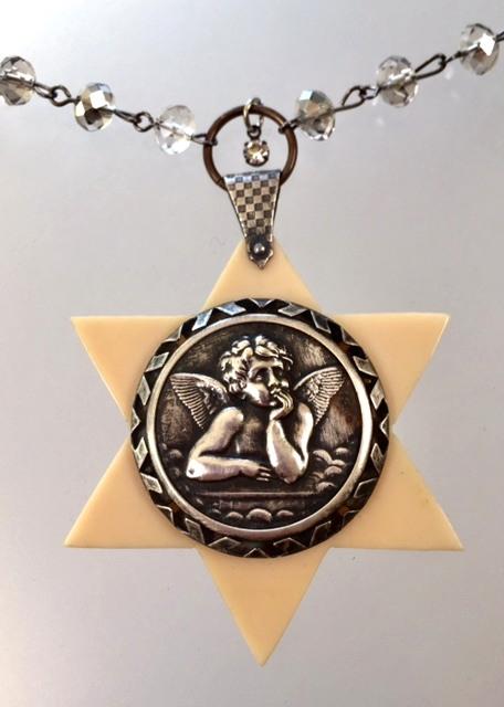 ANTIQUE French RAPHAEL ANGEL Crib Medal Necklace Ivorine French Ivory-n-raphrat