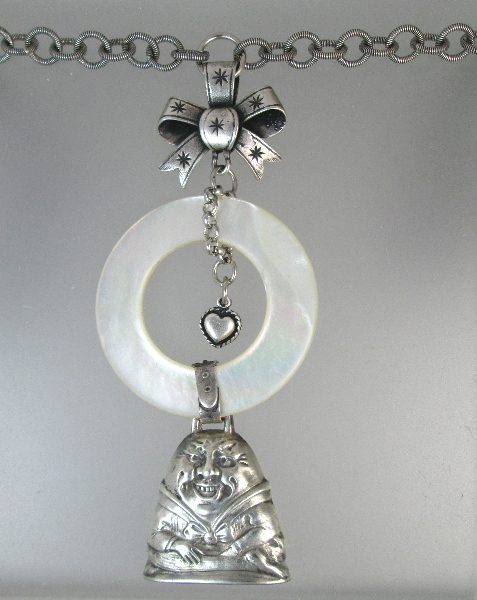 Antique STERLING Silver BABY RATTLE  Bow HUMPTY DUMPTY Charms Necklace-n-rathd