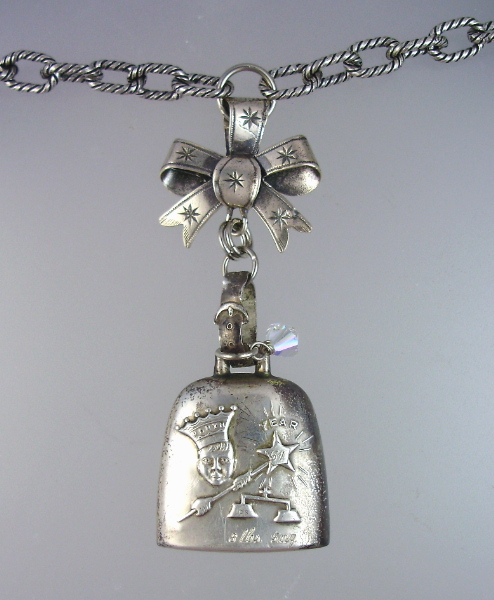 Antique Webster STERLING SILVER BABY RATTLE  with KING Star BOW CROWN Charms Mother of Pearl Beads Pendant Necklace MONOGRAM-n-ratkr