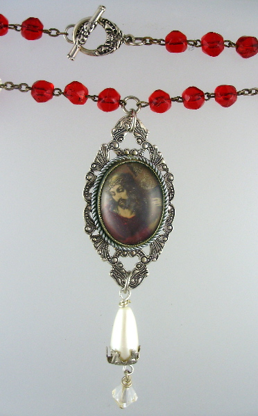 Religious Antique French RED Rosary  Bead JESUS SACRED HEART Necklace-n-rdc