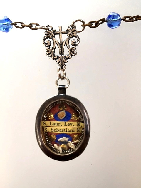 Antique French STERLING Silver Holy RELIC Blue Rosary Beads St SEBASTIANn-relic