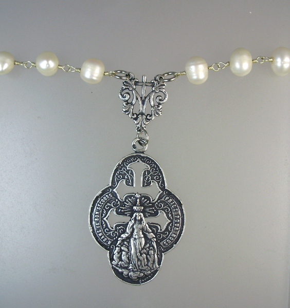 FRENCH Religious Notre DAME de BONSECOURS Charm PEARL Necklace-n-rene