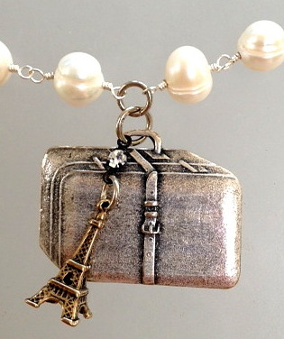 FRENCH Silver SUITCASE Luggage Charm EIFFEL Tower Charm Pearl Necklace PARIS Rue De RIVOLI-n-rivo